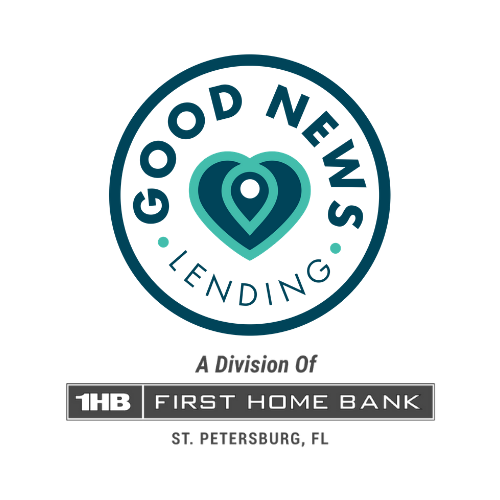 Good News Lending Logo circle with text heart in center