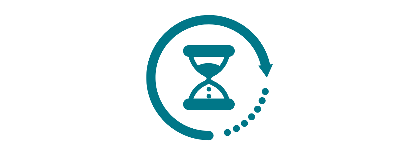 blue outlined icon of a hour glass with sand slipping from the top half into the bottom half.  There is a 3/4 of a circle around the hourglass with an arrow at one end and ellipses between the arrow and the start f the circle.