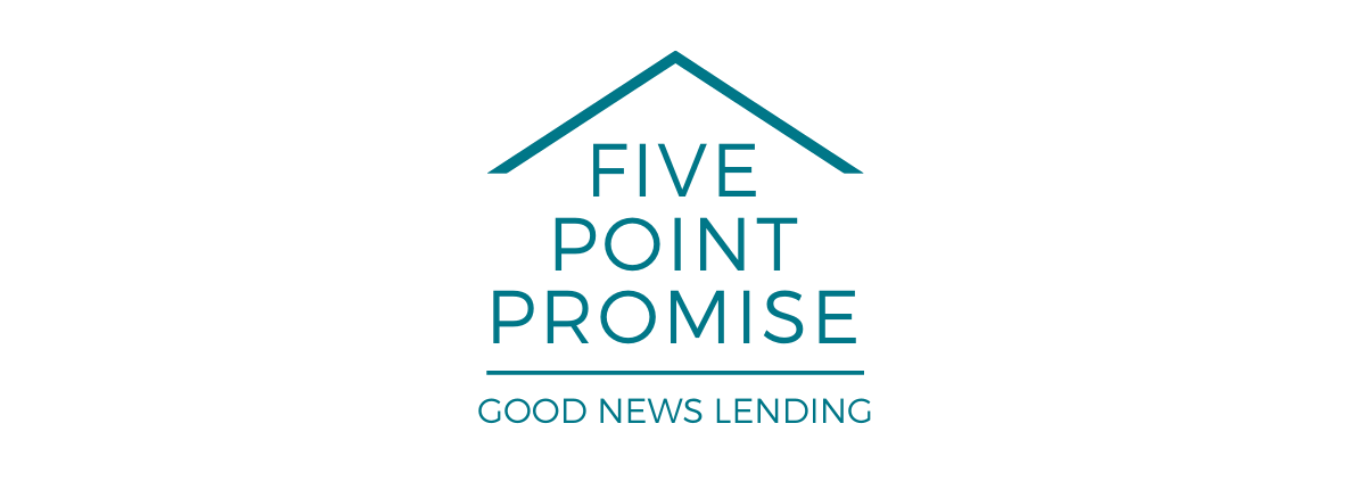 """The words are stacked one on top of each other """"Five Point Promise"""".  There is a roof top over the words formed by an inverted """"V"""" and there is a horizontal line under the words.  One line of text under the lower line reads """"Good News Lending"""". The icon gives the feel of a house shape."""