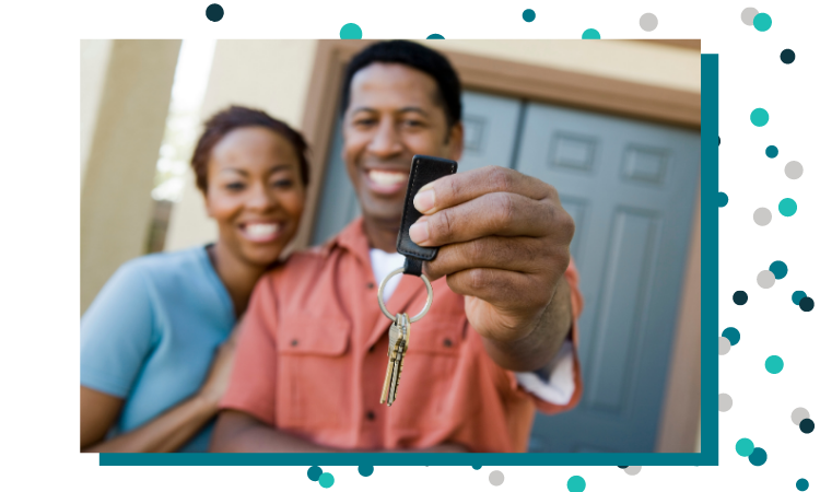 Happy Mortgage Customers Hold Up Keys to New Home