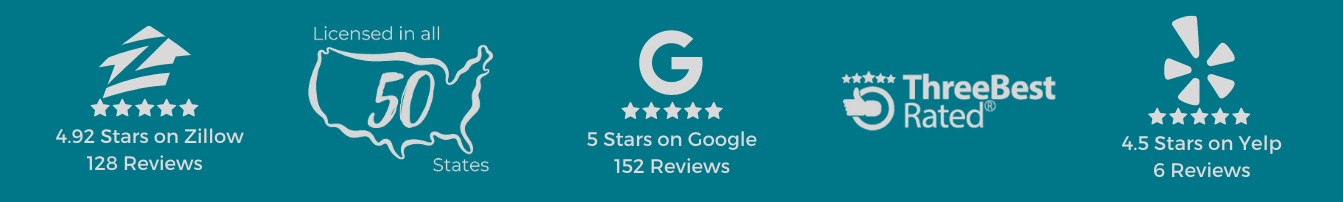 Banner that showcases the high reviews from Yelp, Google, and zillow. I talso displays that we are licensed in all 50 states.