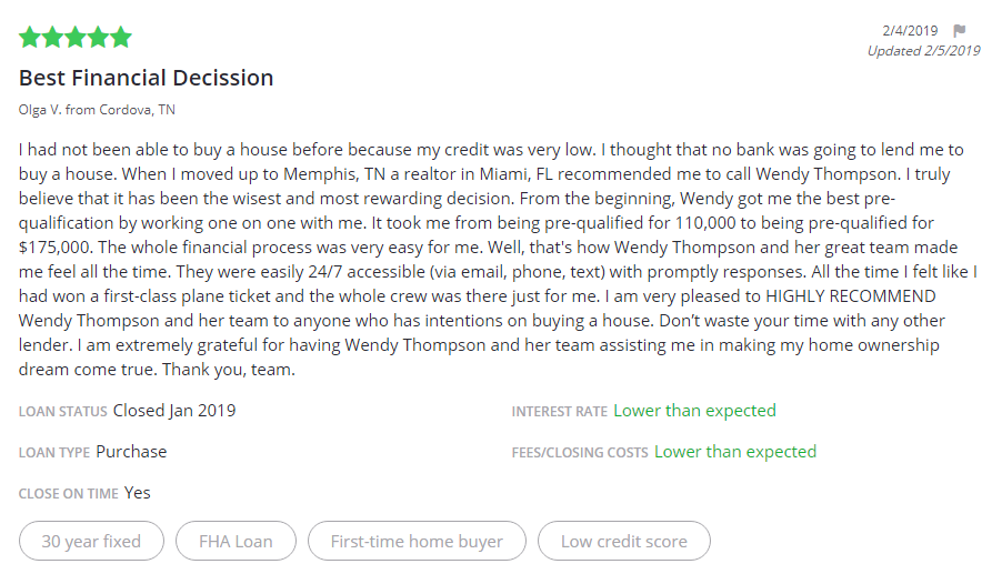 Testimonial from an FHA First Time Home Buyer Used a 30 Year Fixed