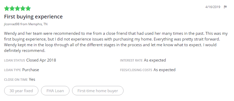 Zillow Testimonial - 30 Year Fixed FHA Loan - First Time Buyer